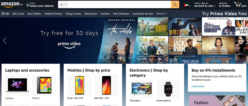 Amazon UAE Home Page